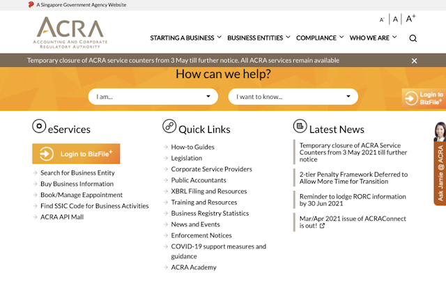 Accounting and Corporate Regulatory Authority front of site screenshot