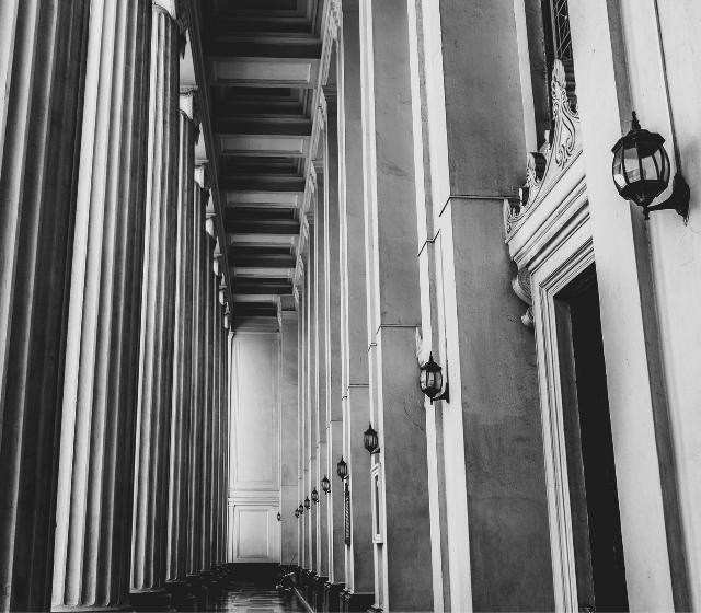 Building hallway in black and white