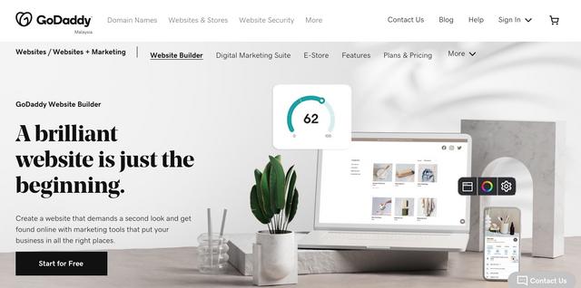 GoDaddy Website Builder Homepage