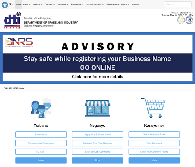 Philippines Department of Trade and Industry front of site screenshot