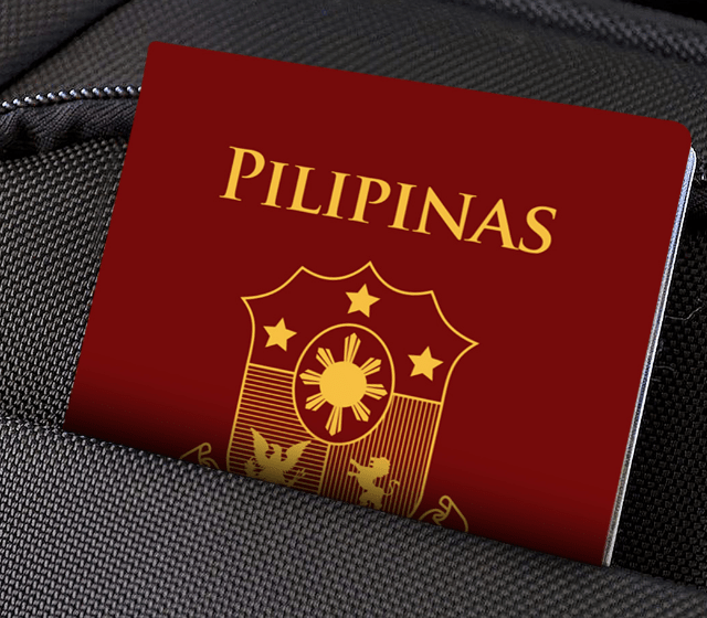 Phillipine passport on a pocket of bag