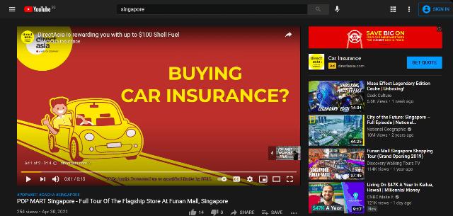 Screenshot sample of SEM ads in video form in YouTube