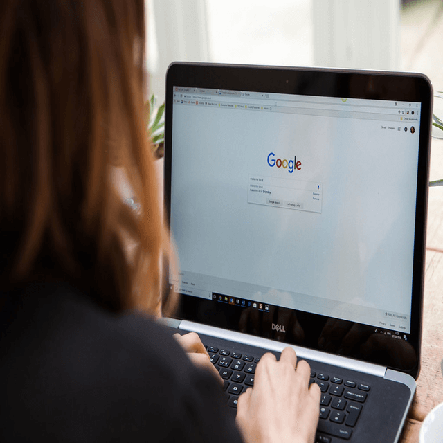 Woman with Google browser opened
