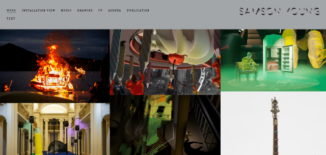 Screenshot of front of website for Sound Artist Samson Young