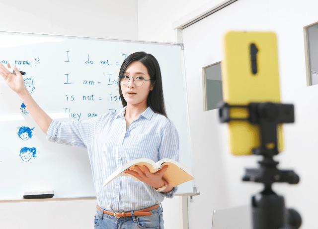 Woman Recording Online Class
